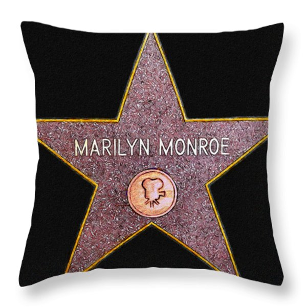 Marilyn Monroe's Star Painting  Throw Pillow by Bob and Nadine Johnston