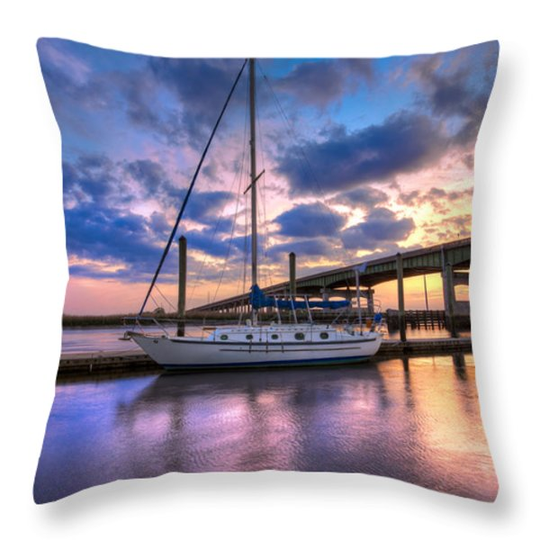Marina At Sunset Throw Pillow by Debra and Dave Vanderlaan