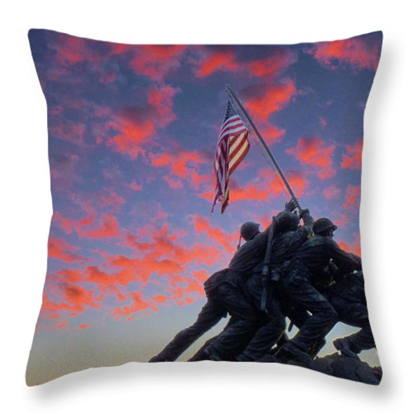 Marines At Dawn Throw Pillow by JC Findley