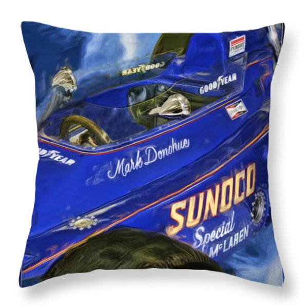 Mark Donohue 1972 Indy 500 Winning Car Throw Pillow by Blake Richards