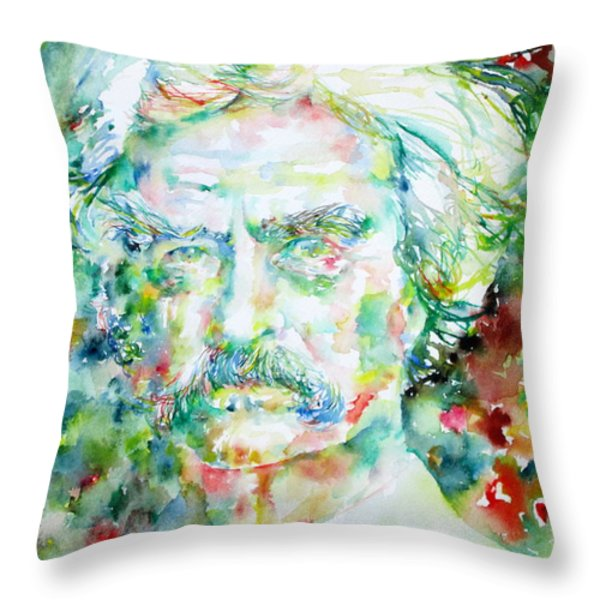 Mark Twain - Watercolor Portrait Throw Pillow by Fabrizio Cassetta
