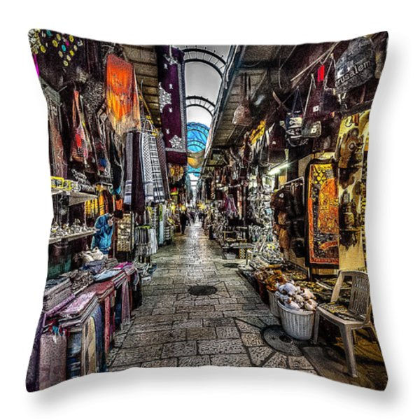 Market In The Old City Of Jerusalem Throw Pillow by David Morefield