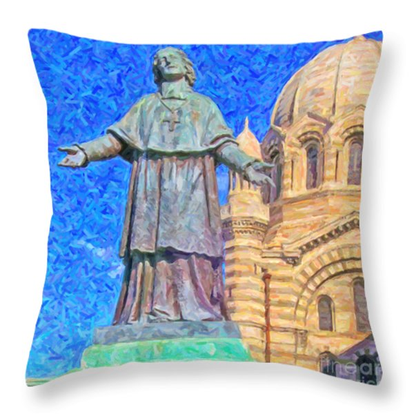Marseille Cathedral Painting Throw Pillow by Antony McAulay