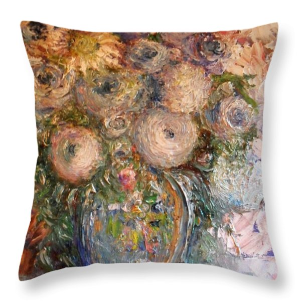 Marshmallow Flowers Throw Pillow by Laurie D Lundquist