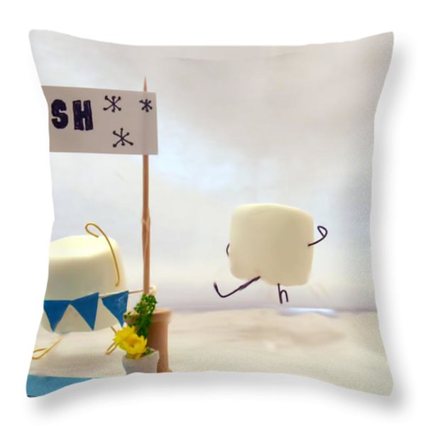 Marshmallow Marathon Throw Pillow by Heather Applegate