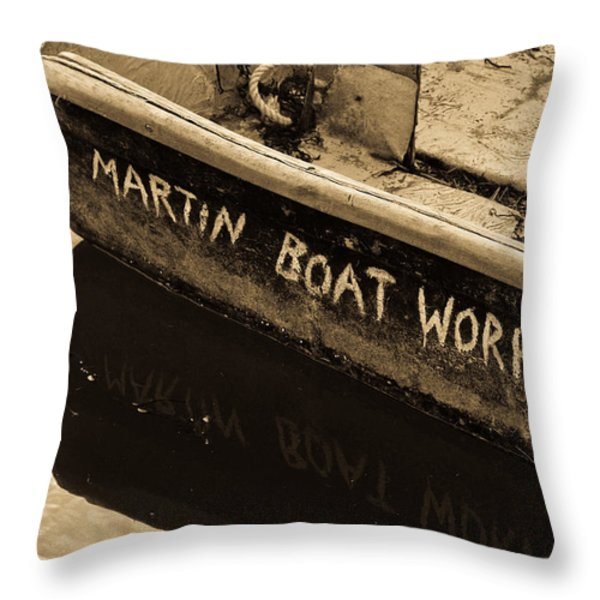 Martin Boat Works Throw Pillow by Mike Martin
