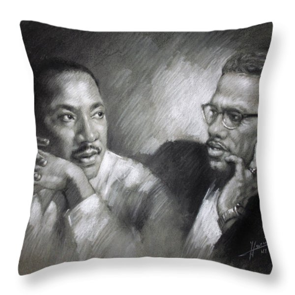 Martin Luther King Jr and Malcolm X Throw Pillow by Ylli Haruni