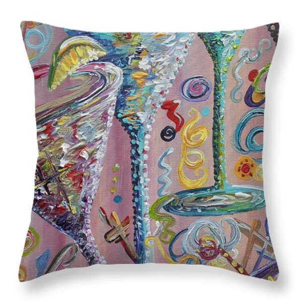 Martini Madness Throw Pillow by Eloise Schneider