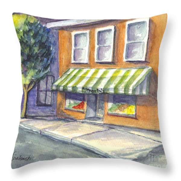 Marty's Market Throw Pillow by Carol Wisniewski
