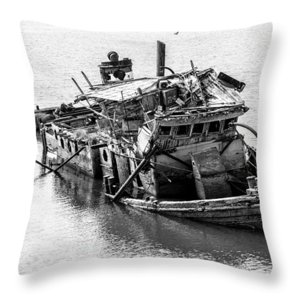 Mary D Hume Shipwreck - Rogue River Oregon Throw Pillow by Gary Whitton