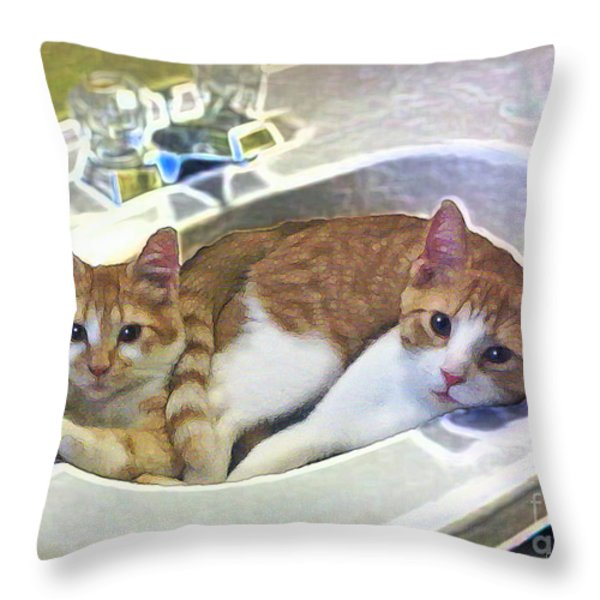 Mary's Cats Throw Pillow by Joan  Minchak