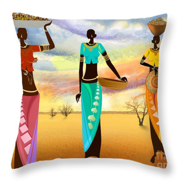 Masai Women Quest For Grains Throw Pillow by Bedros Awak