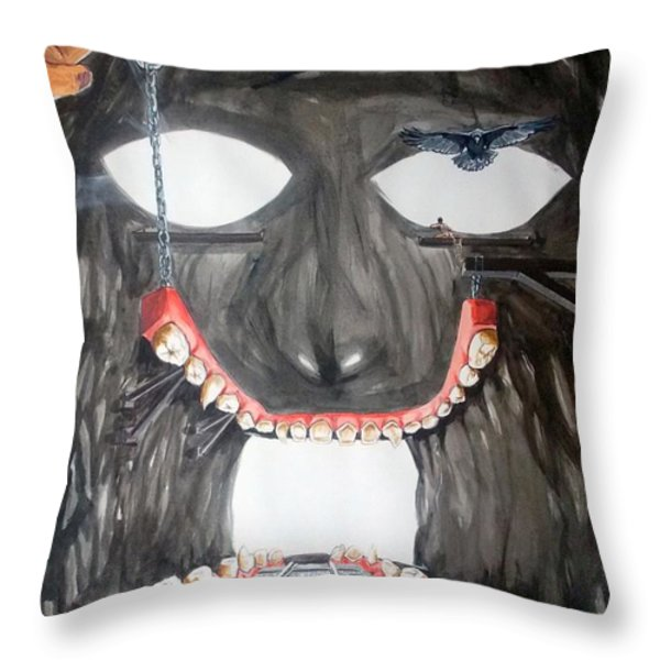 Masquera Carcaza  Throw Pillow by Lazaro Hurtado