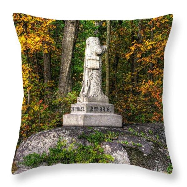 Massachusetts At Gettysburg - 37th Mass. Infantry Autumn Early-evening Sedgwick Avenue Throw Pillow by Michael Mazaika