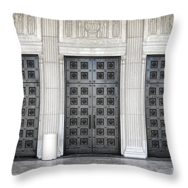 Massive Doors Throw Pillow by Olivier Le Queinec
