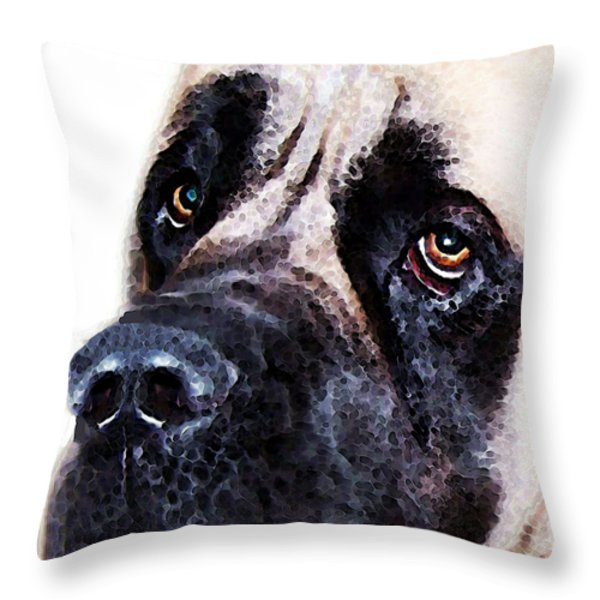 Mastiff Dog Art - Sad Eyes Throw Pillow by Sharon Cummings