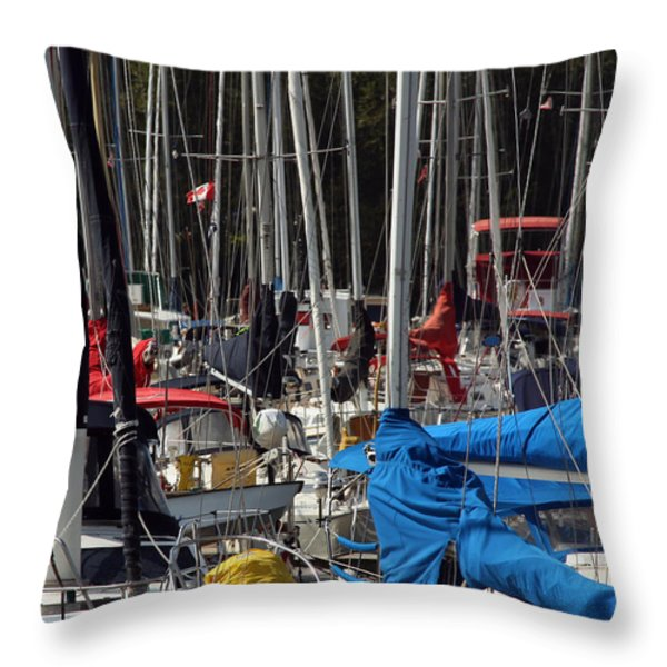 Masts Throw Pillow by Jim Nelson