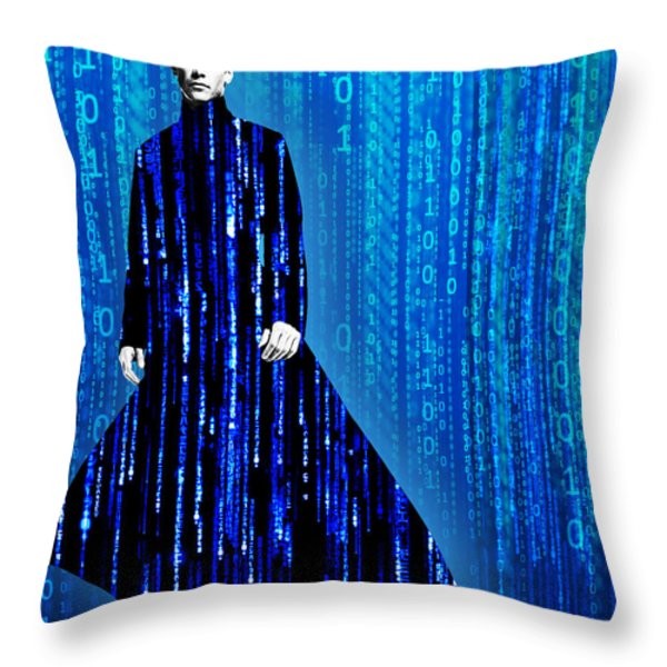 Matrix Neo Keanu Reeves Throw Pillow by Tony Rubino