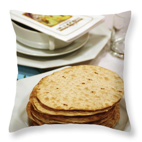 Matza and Haggada for pesach Throw Pillow by Ilan Rosen