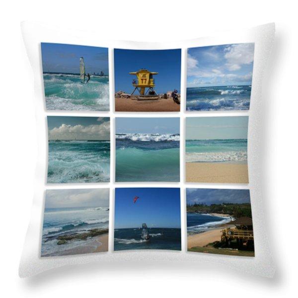 Maui North Shore Hawaii Throw Pillow by Sharon Mau