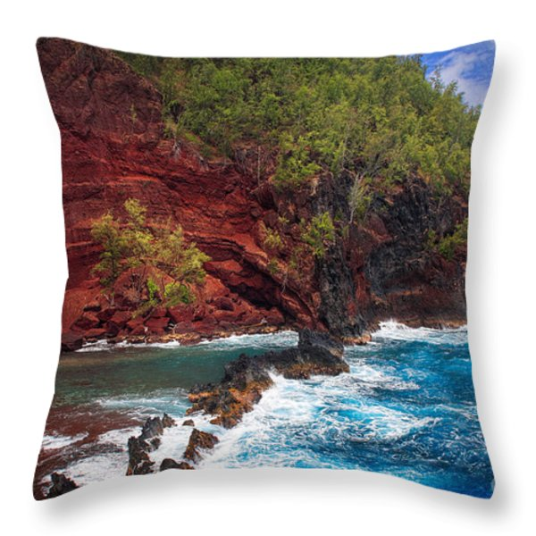 Maui Red Sand Beach Throw Pillow by Inge Johnsson