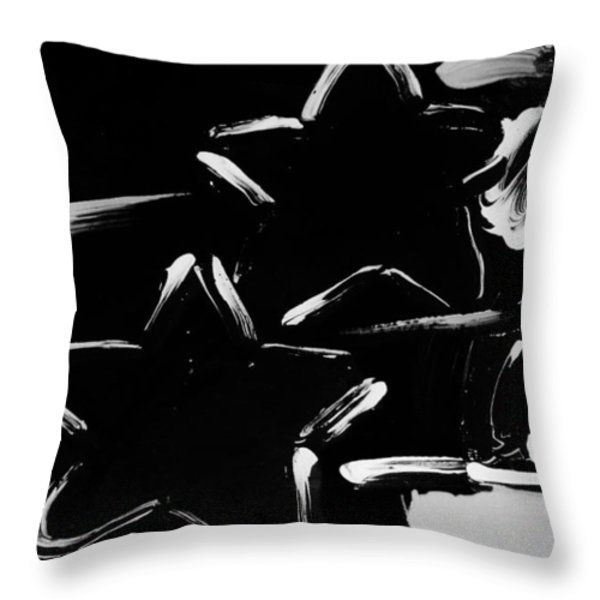 Max Two Stars In Black And White Throw Pillow by Rob Hans