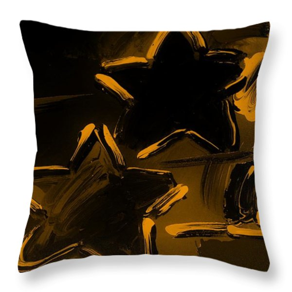 Max Two Stars In Orange Throw Pillow by Rob Hans