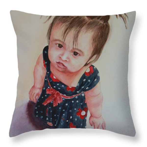 May I Please? Throw Pillow by Kyong Burke