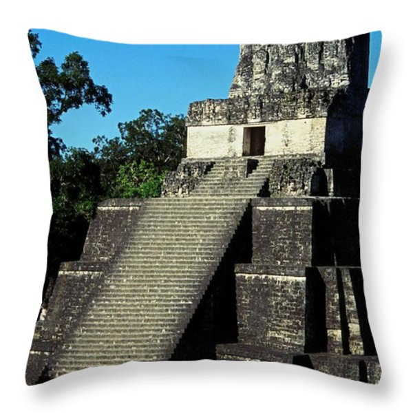MAYAN RUINS - TIKAL GUATEMALA Throw Pillow by Juergen Weiss