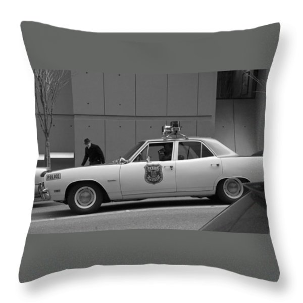 Mayberry Meets Seattle - vintage police cruiser Throw Pillow by Jane Eleanor Nicholas
