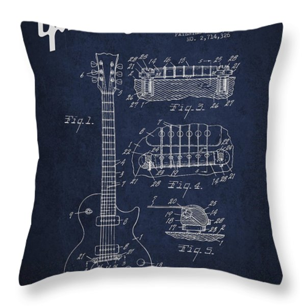 Mccarty Gibson Les Paul guitar patent Drawing from 1955 - Navy Blue Throw Pillow by Aged Pixel