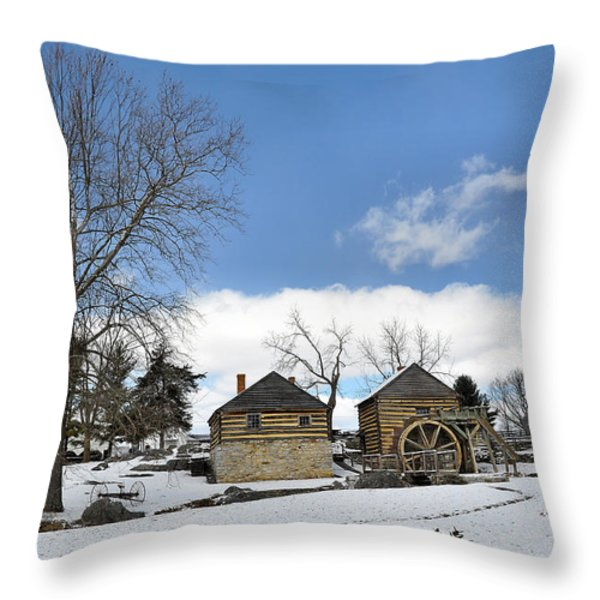 Mccormick Farm In Winter Throw Pillow by Todd Hostetter