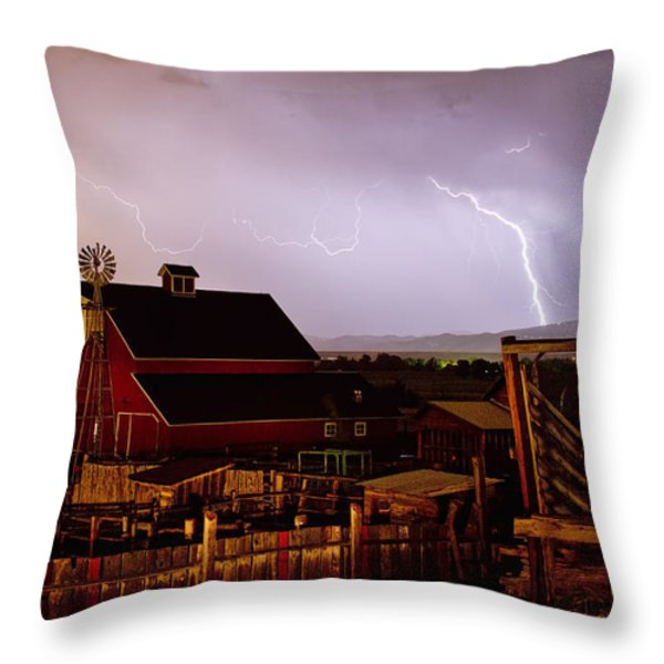 Mcintosh Farm Lightning Thunderstorm Throw Pillow by James BO  Insogna