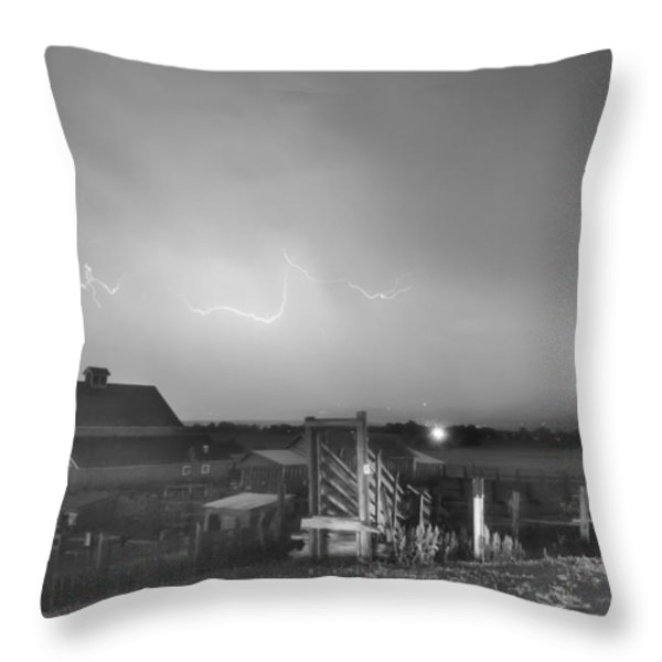 McIntosh Farm Lightning Thunderstorm View BW Throw Pillow by James BO  Insogna