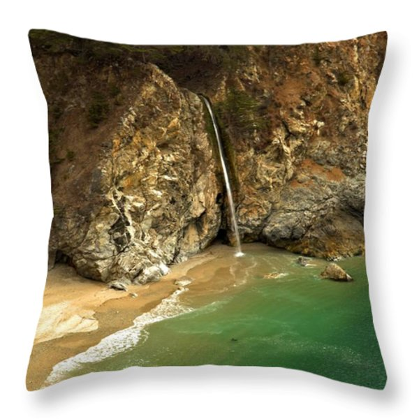 McWay Into The Pacific Throw Pillow by Adam Jewell