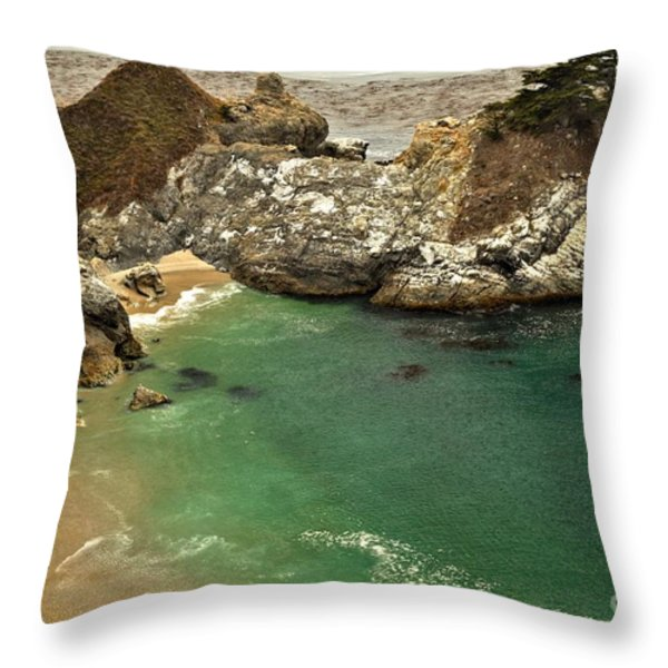 McWay Falling Into The Pacific Throw Pillow by Adam Jewell