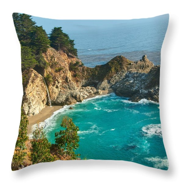 Mcway Falls Along The Big Sur Coast. Throw Pillow by Jamie Pham