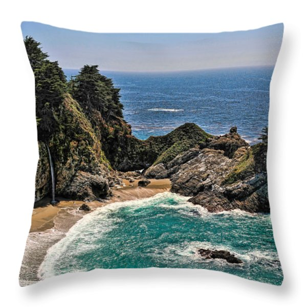 Mcway Falls Beach Throw Pillow by Lara Ellis