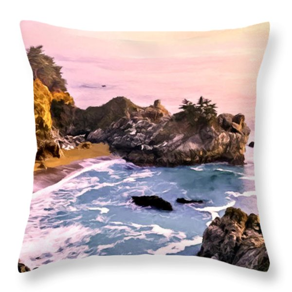 Mcway Falls Pacific Coast Throw Pillow by Bob and Nadine Johnston