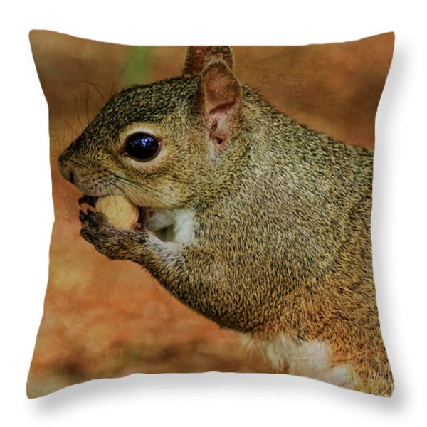 Me And My Peanut Throw Pillow by Deborah Benoit