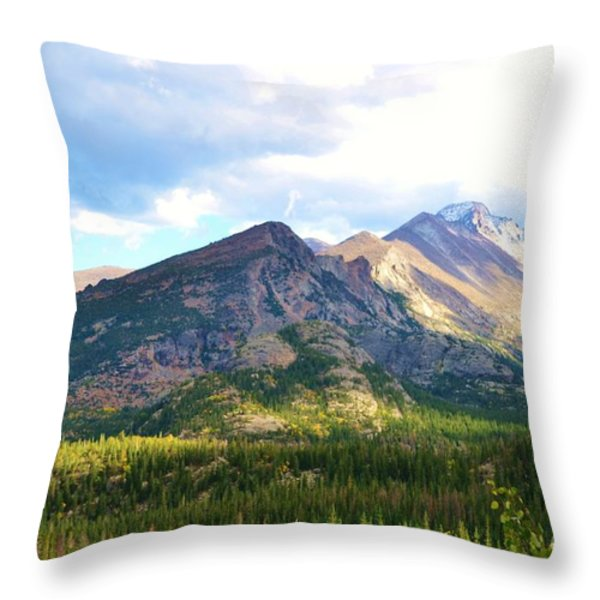 Meadow And Mountains Throw Pillow by Kathleen Struckle