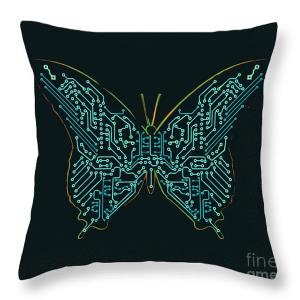 Mechanic Butterfly Throw Pillow by Budi Satria Kwan