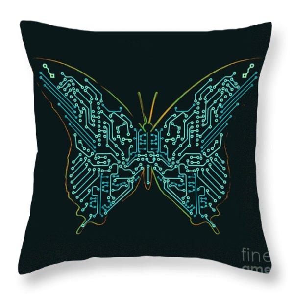 Mechanic butterfly Throw Pillow by Budi Kwan