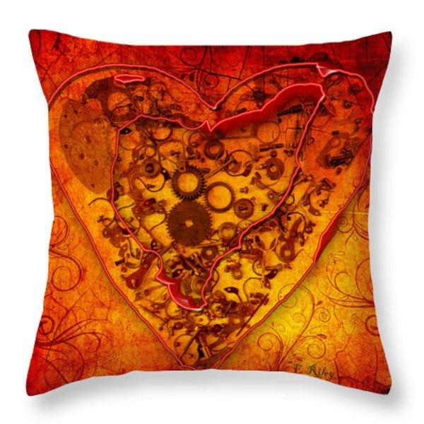 Mechanical - Heart Throw Pillow by Fran Riley