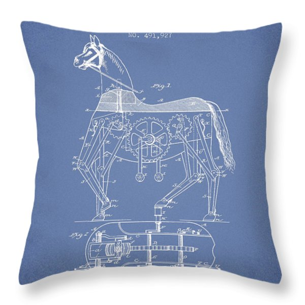 Mechanical Horse Patent Drawing From 1893 - Light Blue Throw Pillow by Aged Pixel