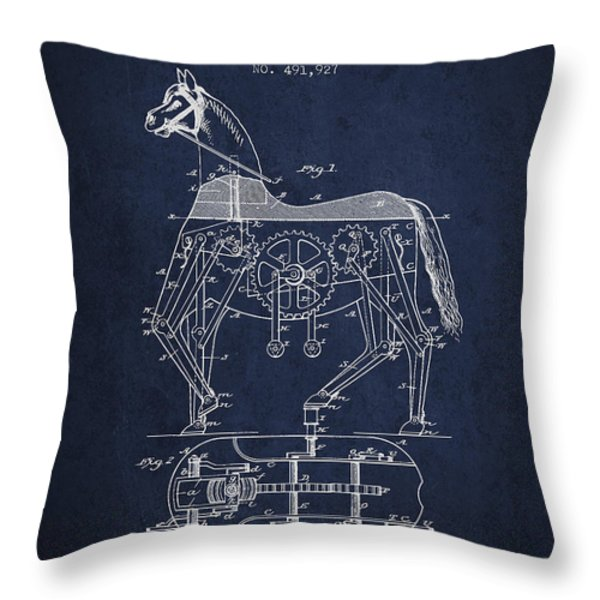 Mechanical Horse Patent Drawing From 1893 - Navy Blue Throw Pillow by Aged Pixel