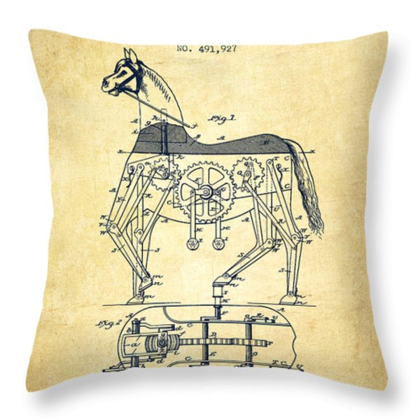 Mechanical Horse Patent Drawing From 1893 - Vintage Throw Pillow by Aged Pixel
