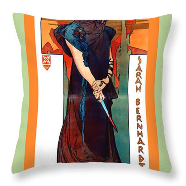 Medee Throw Pillow by Alphonse Maria Mucha