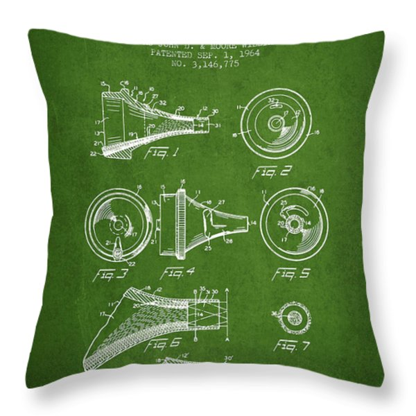 Medical Instrument Patent From 1964 - Green Throw Pillow by Aged Pixel