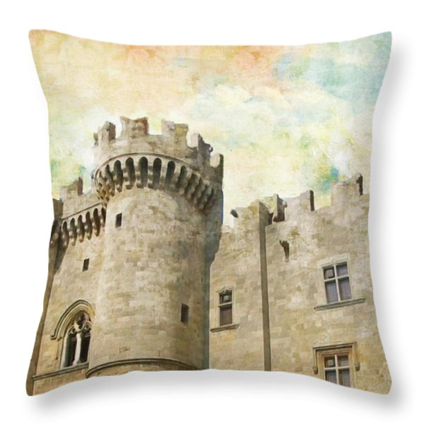 Medieval City of Rhodes Throw Pillow by Catf